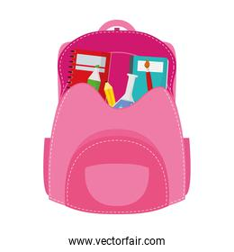 school bag equipment with notebooks and supplies