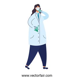 female doctor wearing medical mask with tube test flask laboratory