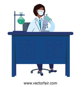 afro female doctor wearing medical mask woking in laboratory desk flat icons