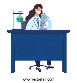 female doctor wearing medical mask woking in laboratory desk flat icons