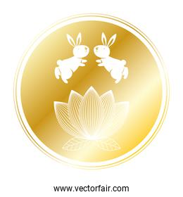 golden rabbits and lotus flower in mid autumn seal