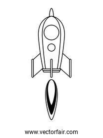 isolated rocket start up launcher line style icon