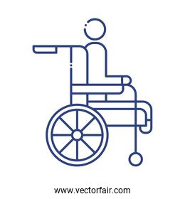 wheelchair with disabled person line style icon