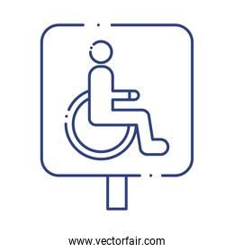 wheelchair disabled signal traffic line style icon
