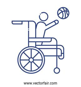man playing basketball in wheelchair disabled line style icon