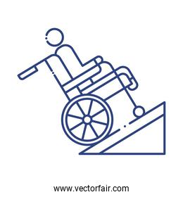 man in wheelchair in ramp disabled line style icon
