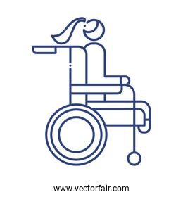 woman in wheelchair disabled line style icon