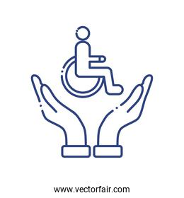 hands protecting wheelchair disabled line style icon