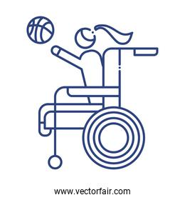 woman playing basketball in wheelchair disabled line style icon