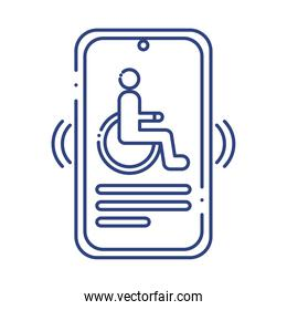 smartphone with wheelchair disabled line style icon