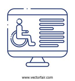 desktop with wheelchair disabled line style icon