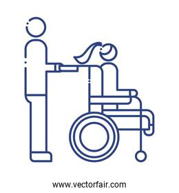 helper with woman in wheelchair disabled line style icon