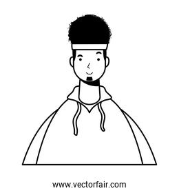 afro ethnic man with sport wear character line style