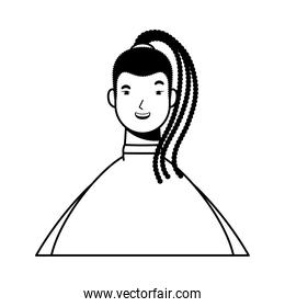 afro ethnic woman with rasta hairstyle character line style