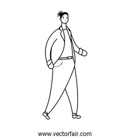 afro ethnic man with business suit character line style
