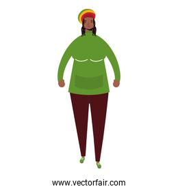 afro ethnic woman wearing jamaican hat character