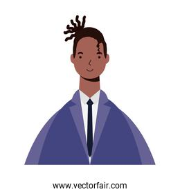 afro ethnic man with business suit character icon
