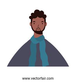 afro ethnic man wearing scarf character icon