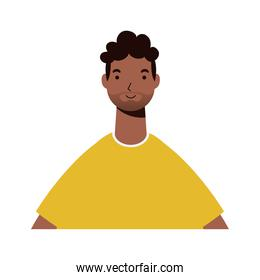 afro ethnic man with beard character icon