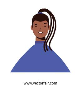 afro ethnic woman with rasta hairstyle character