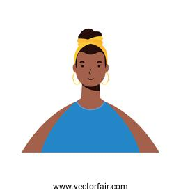 afro ethnic woman character icon