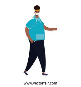 afro ethnic man wearing medical mask with sportwear character