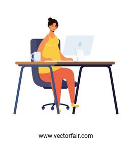 young woman using desktop in workplace character