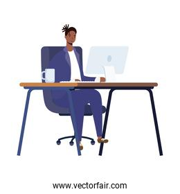 afro ethnic man working in desktop computer character