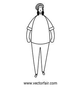 afro ethnic woman wearing jamaican hat character line style