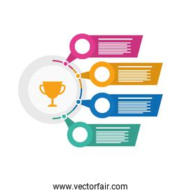 trophy with infographics statistics flat style icon