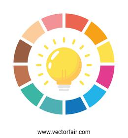 bulb with infographics statistics flat style icon