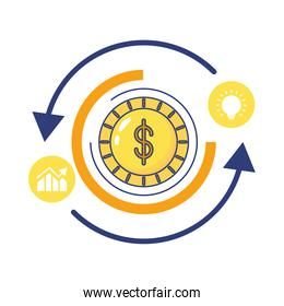 coin with arrows infographics statistics flat style icon