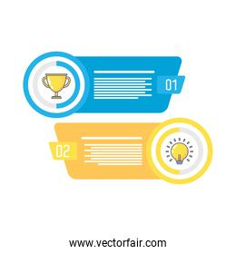 trophy and bulb light infographics statistics flat style icon