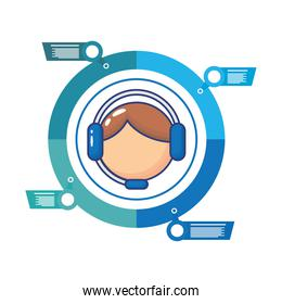 man with headset infographics statistics flat style icon