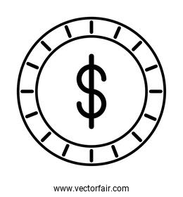 coin money dollar line style icon