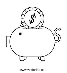 piggy savings with coin money line style icon