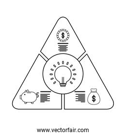 bulb in pyramid infographics statistics line style icon