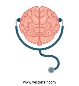 brain human with stethoscope mental health care icon