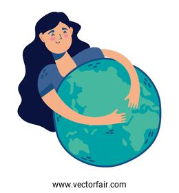 young woman huging world planet earth