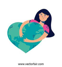 woman huging world planet earth with hearted shape