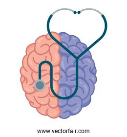 brain human with lateral colors and stethoscope mental health care icon