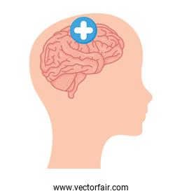 profile with brain human and pluss symbol mental health care icon