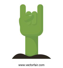 death hand with rock and roll symbol flat style icon
