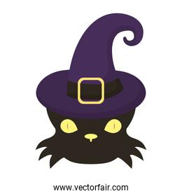 halloween cat black head wearing witch hat flat style icon
