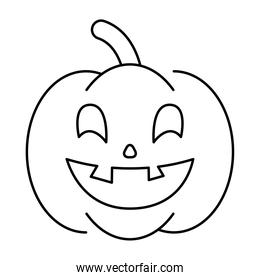 halloween pumpkin with face style line icon