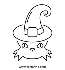 halloween cat black head wearing witch hat line style icon