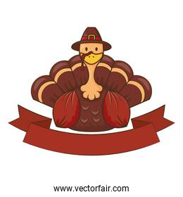 thanksgiving turkey wearing pilgrim hat with ribbon frame