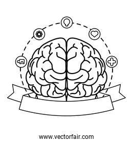 brain human with mental health care set icons around