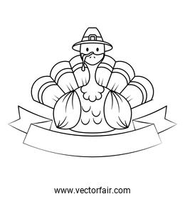 isolated thanksgiving turkey wearing pilgrim hat with ribbon frame