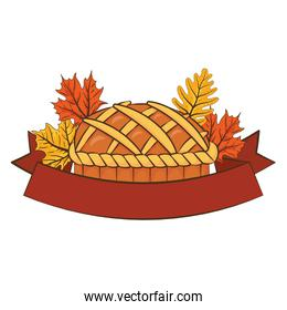 thanksgiving sweet pie delicious with leafs and ribbon frame